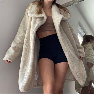 Long Imitation Lamb Wool Overcoat